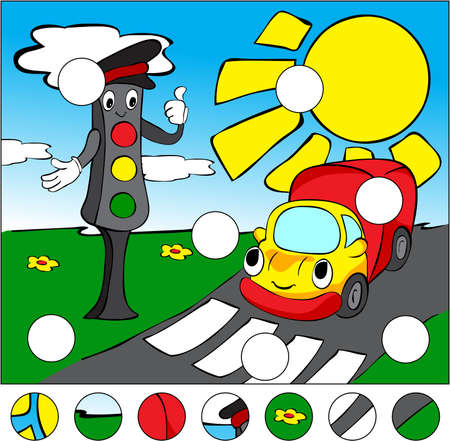 complete crossing: Lorry and traffic lights on the road on a pedestrian crossing. complete the puzzle and find the missing parts of the picture. Vector illustration. Educational game for kids