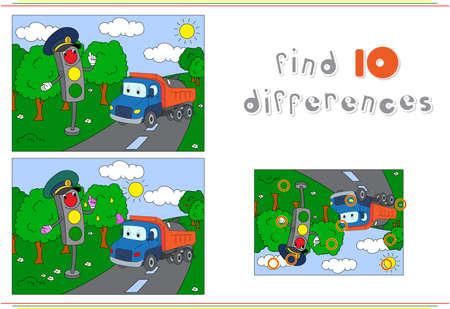 도로에 신호등 및 트럭. 아이들을위한 교육 게임 : 열 차이점을 찾을 수 있습니다. 벡터 일러스트 레이 션