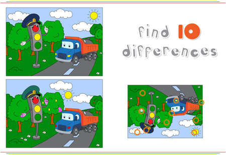 Traffic light and lorry on the road. Educational game for kids: find ten differences. Vector illustration