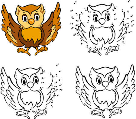 night owl: Cartoon owl. Vector illustration. Coloring and dot to dot educational game for kids Illustration