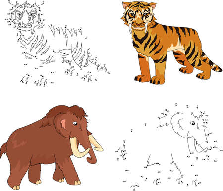 Cartoon mammoth and saber-toothed tiger. Dot to dot educational game for kids. Vector illustration Illustration
