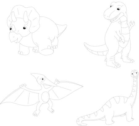 mesozoic: Set of diplodocus, tyrannosaur, pterodactyl and triceratops. Dot to dot educational game for kids. Vector illustration