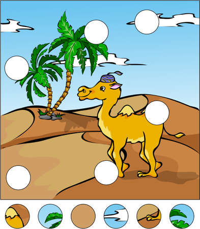 Cartoon camel in the desert. complete the puzzle and find the missing parts of the picture. Vector illustration. Educational game for kids Ilustrace