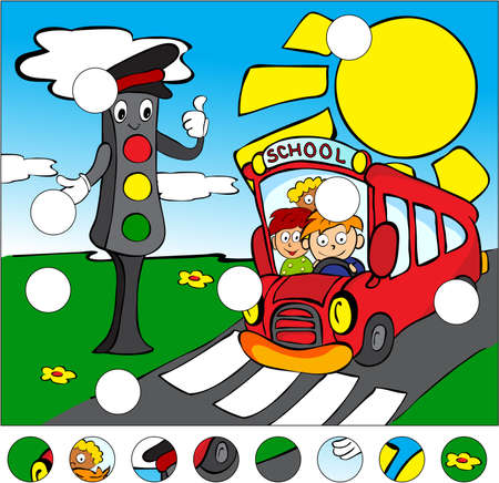 complete crossing: Bus and traffic lights on the road on a pedestrian crossing. complete the puzzle and find the missing parts of the picture. Vector illustration. Educational game for kids Illustration