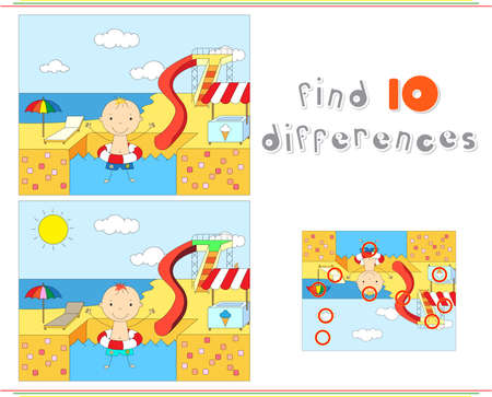 Boy with a rubber ring in the water park swimming pool. Educational game for kids: find ten differences. Vector illustration  イラスト・ベクター素材