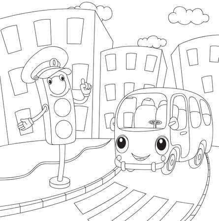 light green: Cartoon bus and traffic lights. Coloring book for kids. Vector illustration