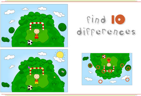 spot the difference: A football player with a soccer ball. Educational game for kids: find ten differences. Vector illustration Illustration