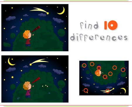 Een jongen kijken naar de sterren met een telescoop in de nacht bos. Educatief spel voor kinderen: ze tien verschillen. vector illustratie