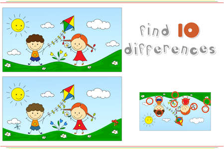 spot the difference: A boy with a girl playing with a kite on a meadow. Educational game for kids: find ten differences. Vector illustration