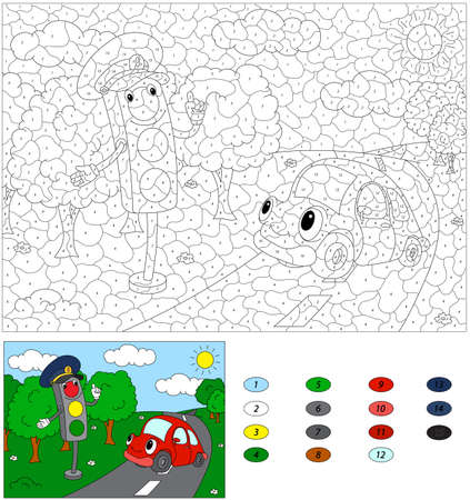 light game: Color by number educational game for kids. Cartoon traffic light and red car. Vector illustration for schoolchild and preschool Illustration