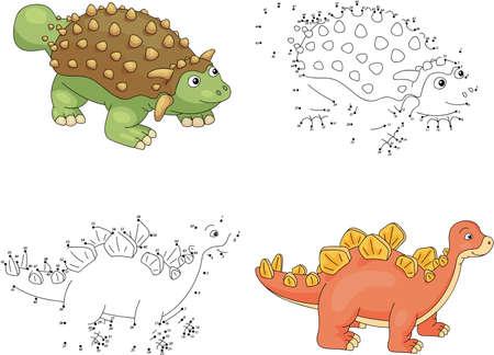 stegosaurus: ankylosaurus de dibujos animados y estegosaurio. Punto a punto juego educativo para los ni�os. ilustraci�n vectorial