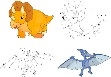Pterodactyl: Cartoon Triceratops and pterodactyl. Dot to dot educational game for kids. Vector illustration Illustration