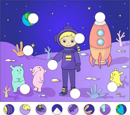달 표면에 외계인과 우주 비행사입니다. 퍼즐을 완성하고 그림의 빠진 부분을 찾으십시오. 벡터 일러스트 레이 션. 아이들을위한 교육 게임