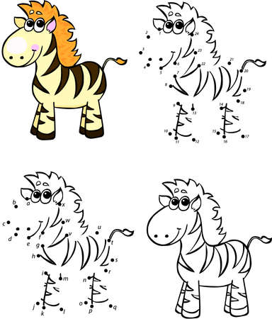 Cartoon zebra. Vector illustration. Coloring and dot to dot educational game for kids