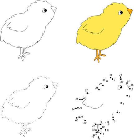 pondering: Cartoon chick. Dot to dot educational game for kids. Vector illustration