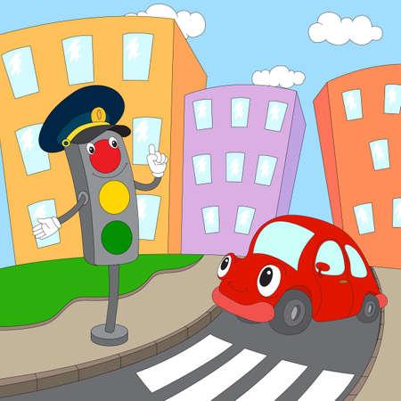 Cartoon red car and traffic lights on a pedestrian crossing. Vector illustration