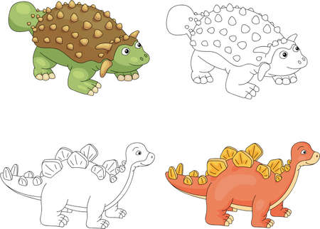 Funny cute ankylosaurus and stegosaurus. Educational game for kids. Coloring book. Vector illustration