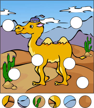 A camel in a desert. Complete the puzzle and find the missing parts of the picture. Vector illustration. Educational game for kids