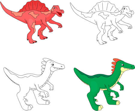 Funny cute spinosaurus. Educational game for kids. Coloring book. Ilustrace