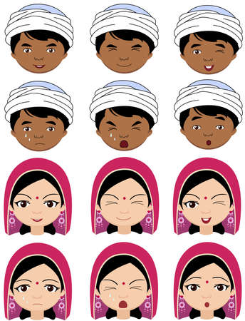 cunning: Indian girl in a headdress and boy in turban emotions: joy, surprise, fear, sadness, sorrow, crying, laughing, cunning wink. Vector cartoon illustration