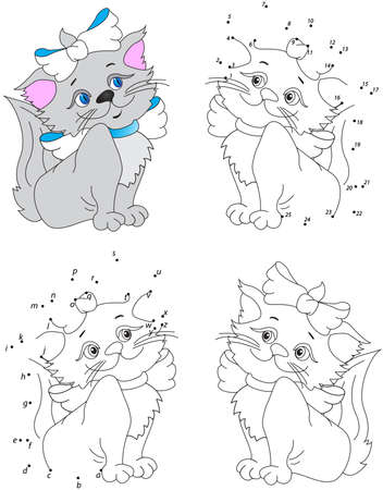 Funny cartoon pussycat. Vector illustration. Coloring and dot to dot educational game for kids 일러스트