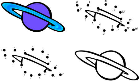Planet Saturn and its rings. Vector illustration. Coloring and dot to dot educational game for kids