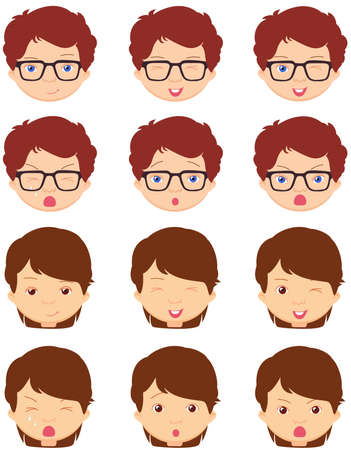 spectacled: Brunet girl and spectacled boy emotions: joy, surprise, fear, sadness, sorrow, crying, laughing, cunning wink. Vector cartoon illustration