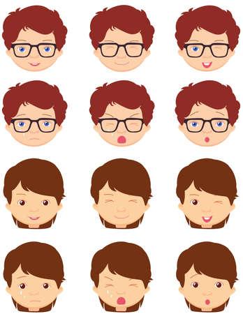 niña de Brunet y emociones muchacho de anteojos: alegría, sorpresa, miedo, tristeza, dolor, llanto, la risa, la astucia guiño. ilustración de dibujos animados de vectores