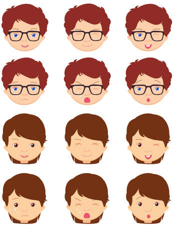 caras emociones: niña de Brunet y emociones muchacho de anteojos: alegría, sorpresa, miedo, tristeza, dolor, llanto, la risa, la astucia guiño. ilustración de dibujos animados de vectores