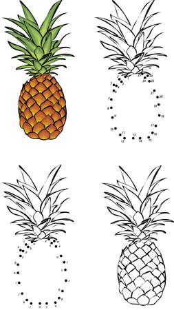 Cartoon pineapple. Vector illustration. Coloring and dot to dot educational game for kids Ilustrace