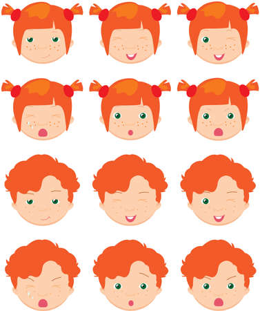 cunning: Red-haired girl and boy emotions: joy, surprise, fear, sadness, sorrow, crying, laughing, cunning wink. Vector cartoon illustration Illustration
