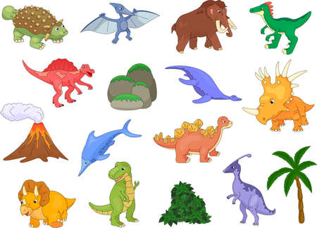 tyrannosaur: Styracosaurus, spinosaurus, ichthyosaur, tyrannosaur, pterodactyl, triceratops, pliosaur, stegosaurus, mammoth, volcano and palm. Vector illustration