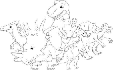 tyrannosaur: Styracosaurus, spinosaurus, tyrannosaur, stegosaurus and parasaurolophus. Coloring book. Vector illustration Illustration