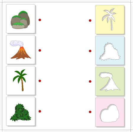 bush babies: Set of rocks covered with moss, volcanic eruption, palm tree and bush. Educational game for kids. Choose the correct silhouettes on the opposite side and connect the points