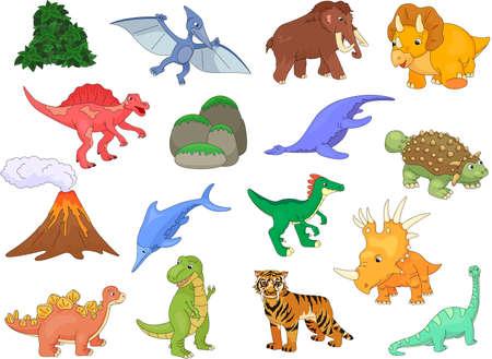 tyrannosaur: Palaeosaurus, styracosaurus, spinosaurus, ichthyosaur, diplodocus, tyrannosaur, pterodactyl, triceratops, pliosaur, stegosaurus, mammoth, saber-toothed tiger, volcano and plant. Vector illustration