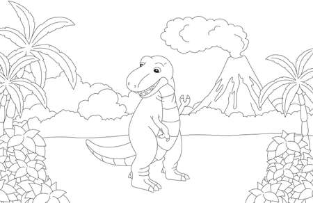 Funny cute tyrannosaurus on the background of a prehistoric nature. Educational game for kids. Coloring book. Vector illustration