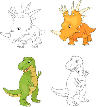Funny cute tyrannosaurus and styracosaurus. Educational game for kids. Coloring book. Vector illustration
