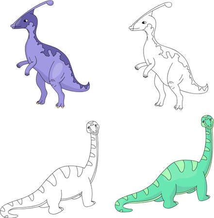diplodocus: Funny cute diplodocus and parasaurolophus. Educational game for kids. Coloring book. Vector illustration