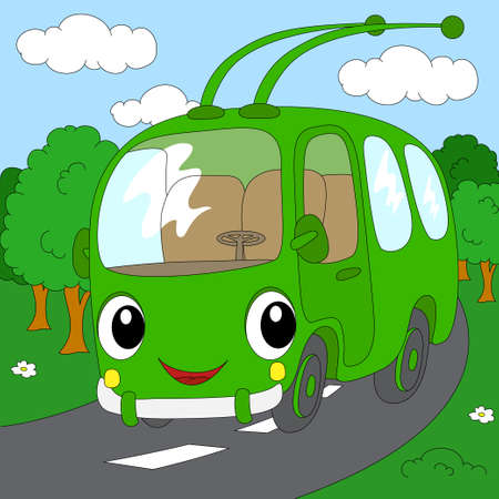 trolleybus: Cartoon green trolleybus in the forest road. Vector illustration