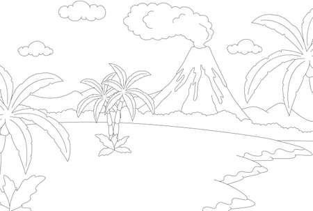 volcanic: Volcanic eruption. Coloring book for kids. Vector illustration
