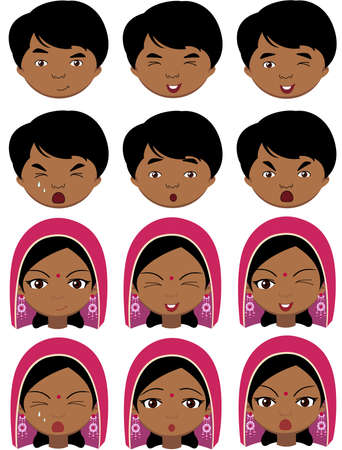 crazy hair: Indian girl in a headdress and boy emotions: joy, surprise, fear, sadness, sorrow, crying, laughing, cunning wink. Vector cartoon illustration
