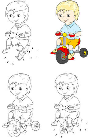 dots: Boy riding a bike. Vector illustration. Coloring and dot to dot educational game for kids