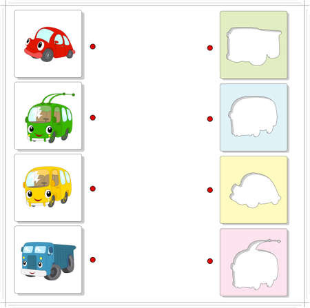 exciting: Set of red car, green trolleybus, yellow bus and blue lorry. Educational game for kids. Choose the correct silhouettes on the opposite side and connect the points