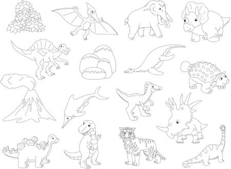 tyrannosaur: Palaeosaurus, styracosaurus, spinosaurus, ichthyosaur, diplodocus, tyrannosaur, pterodactyl, triceratops, pliosaur, stegosaurus, mammoth, saber-toothed tiger, volcano and palm. Coloring book for kids. Vector illustration