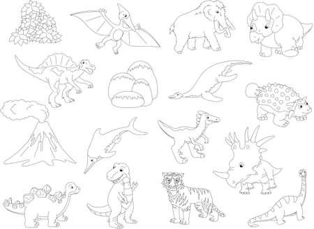 spinosaurus: Palaeosaurus, styracosaurus, spinosaurus, ichthyosaur, diplodocus, tyrannosaur, pterodactyl, triceratops, pliosaur, stegosaurus, mammoth, saber-toothed tiger, volcano and palm. Coloring book for kids. Vector illustration