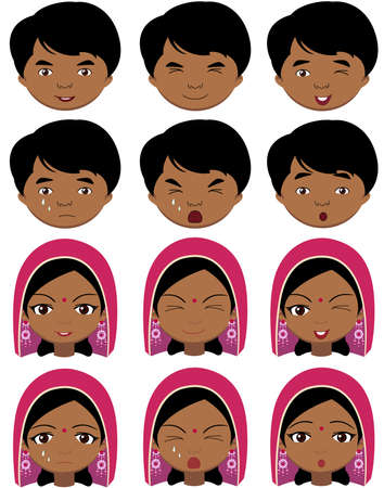 sad cartoon: Indian girl in a headdress and boy emotions: joy, surprise, fear, sadness, sorrow, crying, laughing, cunning wink. Vector cartoon illustration