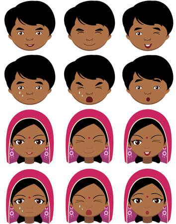 ni�o llorando: Muchacha india en un tocado y un ni�o emociones: alegr�a, sorpresa, miedo, tristeza, dolor, llanto, la risa, la astucia gui�o. ilustraci�n de dibujos animados de vectores