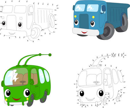 Cartoon blue lorry and green trolleybus. Dot to dot educational game for kids. Vector illustration