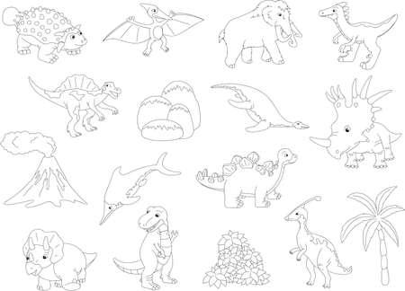 spinosaurus: Palaeosaurus, styracosaurus, spinosaurus, ichthyosaur, diplodocus, tyrannosaur, pterodactyl, triceratops, pliosaur, stegosaurus, mammoth, volcano and palm. Coloring book for kids. Vector illustration Illustration