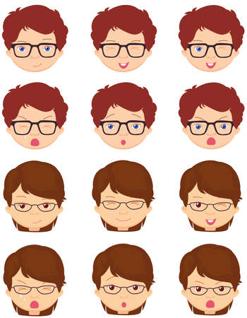 cunning: Brunet girl and spectacled boy emotions: joy, surprise, fear, sadness, sorrow, crying, laughing, cunning wink. Vector cartoon illustration